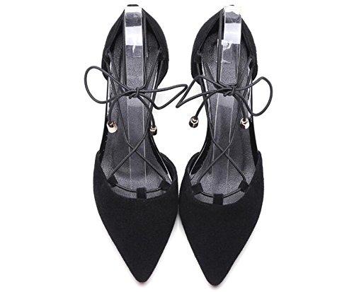 PBXP D 'orsay Spitz-Zeh-Krawatten X-Riemen Kätzchen Low Heel Leder Frauen Casual Work Party Elegante römische Schuhe Aprikose Schwarz Europa Größe 34-39 Black