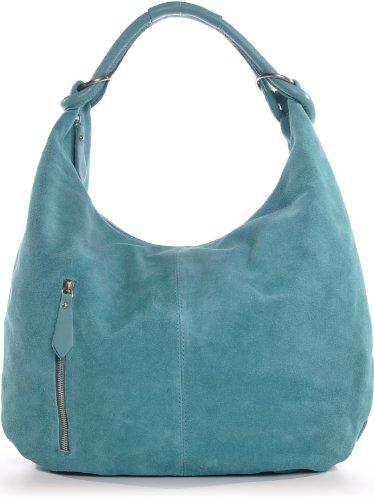 CNTMP Damen Schultertasche Leder, Hobo-Bag, Leder Handtasche Damen, Beuteltasche Wildleder, Leder-Tasche DIN-A4, 44x36x4cm (B x H x T) (Türkis (Aqua)) -