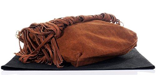 Italiano camoscio cuoio splendido fiocco lungo Grab o spalla borsetta con Metalwork oro e tracolla staccabile.Fornita nella pratica custodia protettiva marca Mid Brown