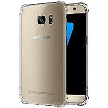 Funda Samsung Galaxy S7, POOPHUNS Carcasa Fundas Samsung Galaxy S7, Cristal Claro Absorción TPU y PC, Parte Trasera Dura, Anti-Estático, Anti-Rasguño, Anti-Golpes, Refuerzo de Grosor para Evitar Ante Caídas, Transparente