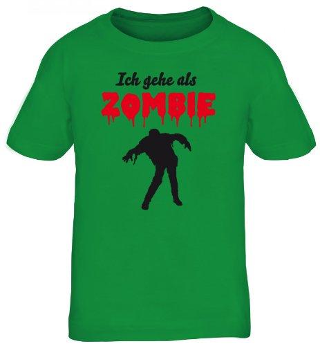 ing - Ich gehe als Zombie, Kostüm Karneval Kids Kinder Fun T-Shirt , Größe: 122/128,kelly green (Street Zombie Kostüm)