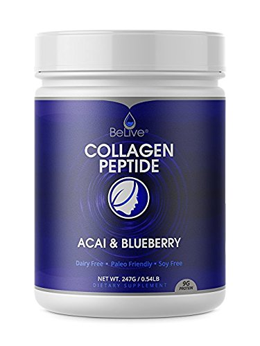 Collagen Peptides Powder Hydrolyzed Protein for Women and Men | Designed for Healthier Hair, Skin and Nail, Anti-Aging, Joint Support, Digestive System. Blueberry & Acai Flavored -