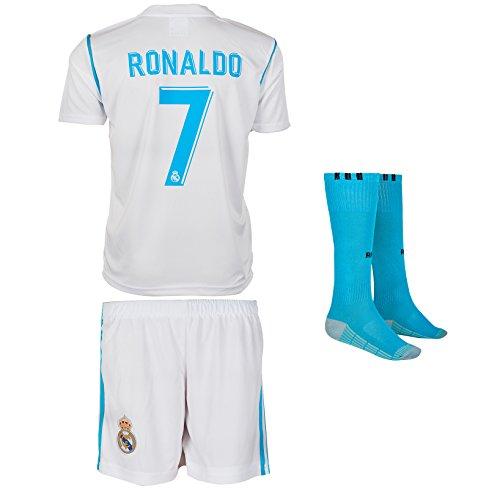 Real Madrid 2017/18 # 7 Ronaldo - Kinder Trikot und Hose mit Socken (164, Heim)