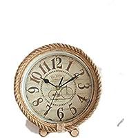 AIKE Continental Rural Sencillo Moderno Silencio Cuerda de Cáñamo Reloj de Mesa Decoración Regalos Cuarto Sala estudiar Restaurante Cuarto de los Niños 12 * 20