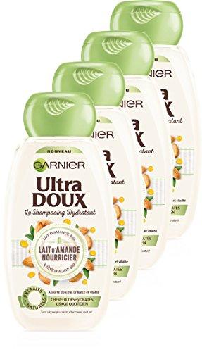 Garnier Ultra Doux Shampoing Hydratant Lait d'Amande Nourricier 250 ml - Lot de 4