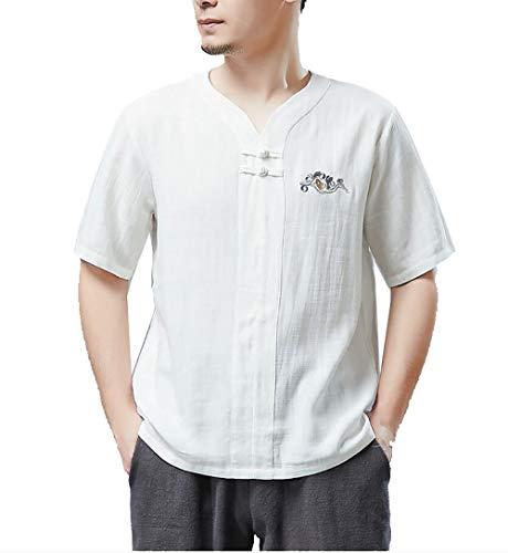 NY- Kurzärmliges Herren-T-Shirt Schlanker Stil, literarischer Stil, Baumwolle und Leinen, lässiger chinesischer V-Ausschnitt (Martial-arts-uniform V-ausschnitt)