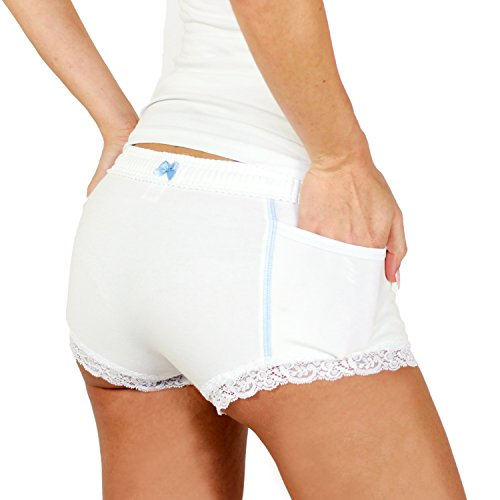 FOXERS Damen Panty White/Light Blue Accents