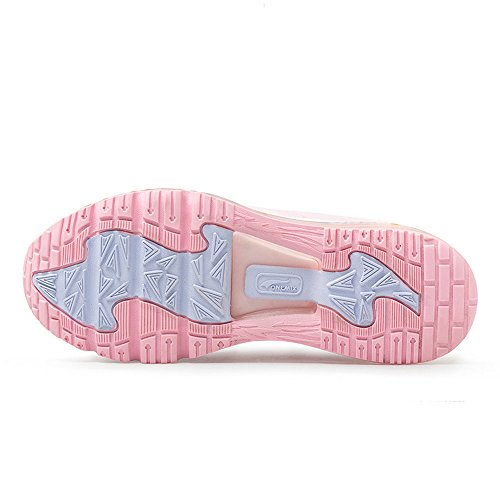 ONEMIX Homme Femme Air Chaussures Gym One-Piece Damping Cushion Baskets Mixte Adulte Rose Blanc
