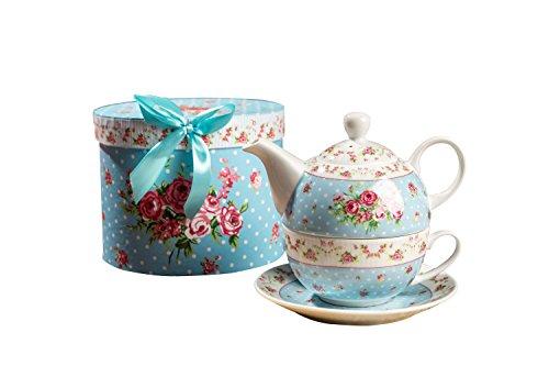 Retro-Porzellan-Teekanne, viktorianisches Blumenmuster, mit 1 x Teetasse und 1 x Untertasse in Geschenkbox, keramik, blau, 15x15cm