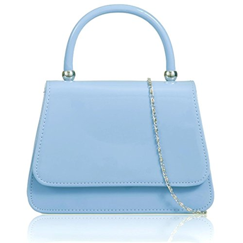 Xardi London pochette da sposa maniglia borsa brevetto in similpelle donne ragazza Blue