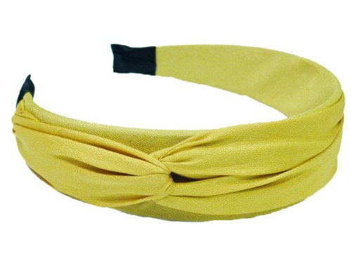 rougecaramel - Serre tête/headband/bandeau large uni - jaune moutard