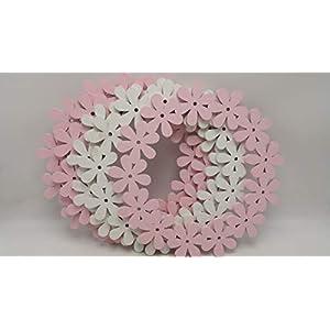 Türkranz Wandkranz Fensterdeko Blütenring Blumenkranz Set 5 Stück rosa weiß