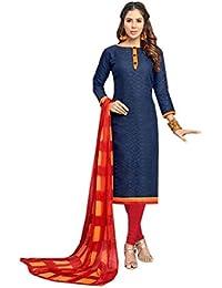 Dark Blue & Red Jacquard Cotton Dress Materials
