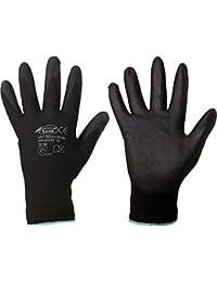 Heimwerker-Produkte 12 Paar Nylon Feinstrick Handschuhe Arbeitshandschuhe PU-beschichtet - EN 388 CE Cat 2 - schwarz (Größe 11 / XXL)