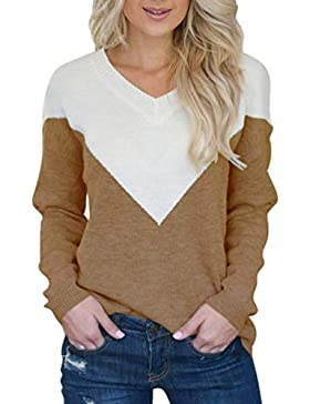 Kuncg Sueters Mujer Manga Larga en Cuello V Jersey Sweater Tops de Punto Casual Pullover Puntadas Jumper Camiseta