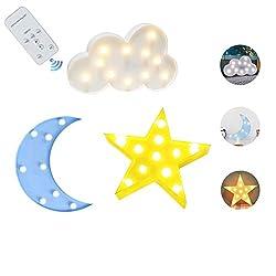 IACON Baby Nachtlichter mit Fernbedienung Schalter dekorative LED Crescent Moon Star Cloud Marquee Zeichen Kennzeichen Buchstaben für Kinder Kinderzimmer Nachtlampe Geschenke für Kinder