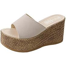 LiucheHD Pantofole Donna estive Elegant Tacco Medio Sandali Gioiello Sandali  Scarpe Romane Infradito Morbida Pelle Con dd99415c1c3