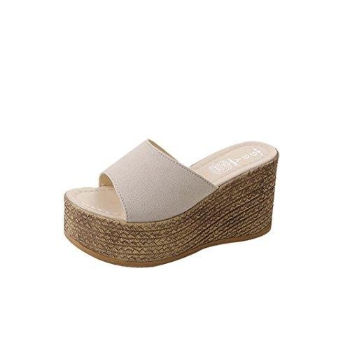 Liuchehd pantofole donna estive elegant tacco medio sandali gioiello sandali scarpe romane infradito morbida pelle con punta aperta e plateau scarpe piattaforma (beige, 36)