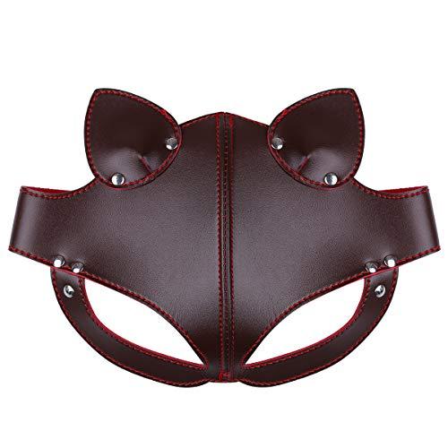 FEESHOW Unisex PU Leder Maske Fuchs Bär Gesichtsmasken mit Ohren Augenbinde Augenschutz Flirten Cosplay Kostüm Zubehör Braun One Size