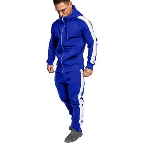 Homme Ensemble Hoodie Pantalon De Jogging Ajusté avec Bande sur Le Côté,Lonshell Survêtement Slim Hiver Automne Sportswear Sport 2 Pièces