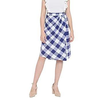 Fabnest Womens Cotton Blue and White Bold Checks Handloom Wrap Around Skirt for Women