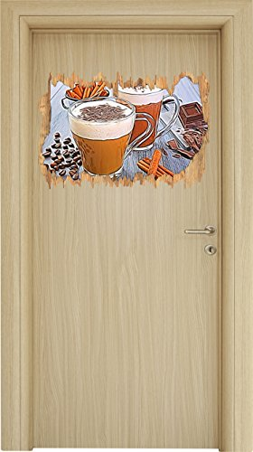 Primavera Kaffee (Leckere Tassen Kaffee mit Schokolade Holzdurchbruch im 3D-Look , Wand- oder Türaufkleber Format: 62x42cm, Wandsticker, Wandtattoo, Wanddekoration)