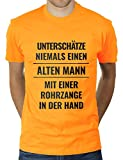 Unterschätze Niemals einen Alten Mann mit Einer Rohrzange in der Hand - Herren T-Shirt von KaterLikoli, Gr. L, Gold Yellow