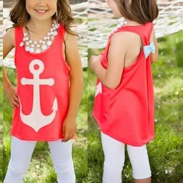 3-8Y Nette Kind-Mädchen-Sommer-Sleeveless gedrucktes Bogen-Kleinkind-Blusen-T-Shirt Top - Global Ärmelloses Shirt