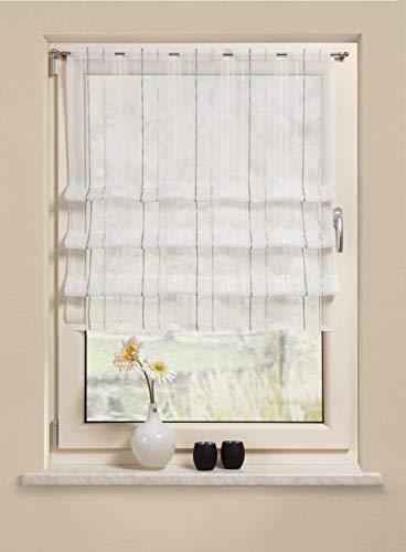Clipraffstore Pascal ungeclipst 145cm lang x 82cm breit gestreift weiß, braun, grau