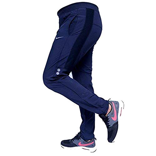 Men's Polyester Lower Slim and Fit Track Pants (Navy Blue, Medium)
