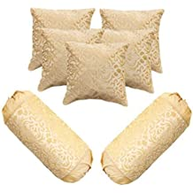 Belive-Me Velvet Set of 5 Cushion Covers (16x16 inches/ 40X40 cm) with 2 Bolster Covers (30x16 inches/75x40 cms) (Beige)