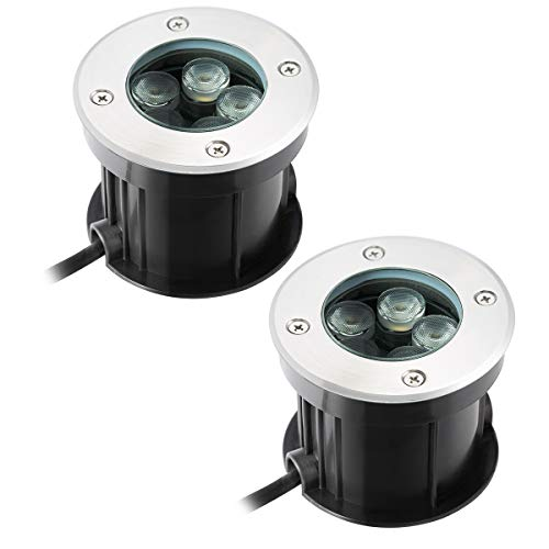 5W LED Bodeneinbaustrahler Warmweiß Aussen Einbaustrahler,Bodenleuchte AC 230V IP67 für Aussen Wegbeleuchtung Garten Terrasse Treppe -60° Abstrahlwinkel (2 pack)