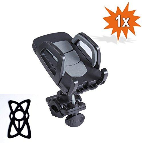 360° Hochwertige Universal Smartphone Handy Navi Fahrradhalterung Halter Halterung Fahrrad Motorrad Mountainbike Lenker mit Silikon Bänder (Grau)