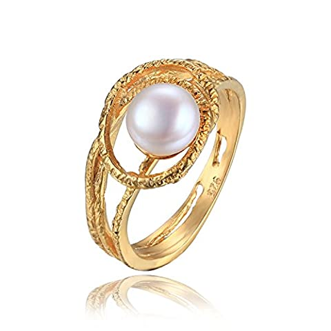 JewelryPalace 6mm Freshwater Cultured White Pearl Ring 925 Sterling Silver 18K Yellow Gold Plated Size
