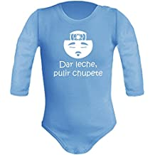 Body bebé unisex. Parodia Karate Kid, El señor Miyagi - Dar leche, pulir chupete. Regalo original. Body bebé divertido. Body friki. Manga larga.