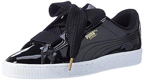Puma Basket Heart Patent, Sneakers Basses Femme, Noir (Black-Black), 39 EU