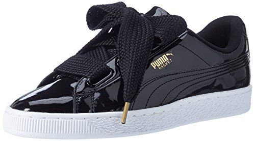 Puma Damen Basket Heart Patent Low-Top Sneaker, Schwarz Black, 41 EU