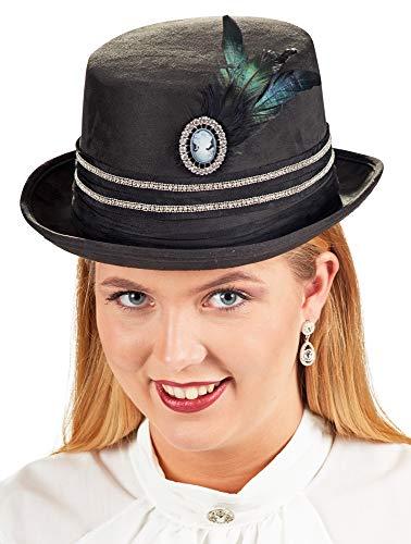 Andrea-Moden Zylinder Hut Diamond mit Kamee Brosche und Federn für Damen - Schwarz - Zubehör Kostüm Lady 19. Jahrhundert Renaissance Fasching Mottoparty