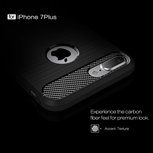 CaseforYou Hülle iPhone 7 Plus Carbon Fiber Texture Brushed Soft TPU Anti-Slip Cover Protector Shell Back Case Taschen Schutzhülle für iPhone 7 Plus Handy Minzgrün
