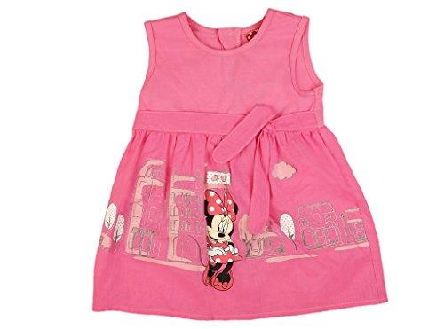 Mädchen-Kleid in GRÖSSE 80, 86, 92, 98, 104, 110, 116 rosa im City Style, leichtes Minnie Mouse Kleid ÄRMELLOS, ideales Strand-Kleid oder Sommer-Kleid, Mädchen-Rock mit Schleife Size 110