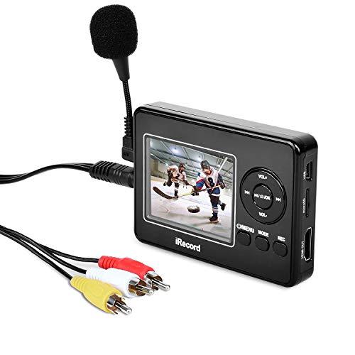Video Capture Box avec Microphone, VHS vers Digital DVD Converter à partir de cassettes VCR Hi8 caméscope TV Box et systèmes de jeu, enregistrer en carte TF directement
