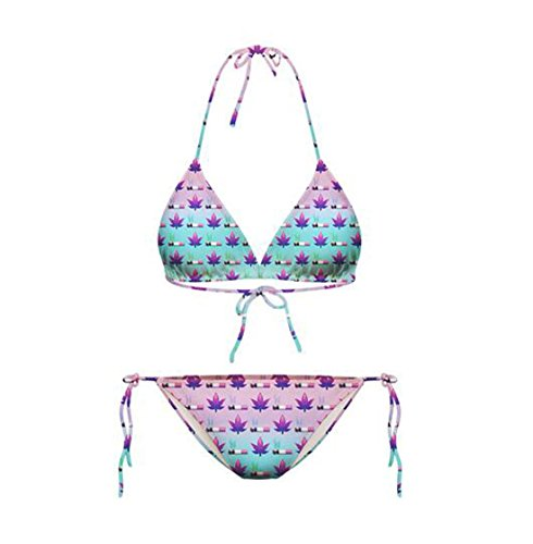 Lucky staryuan ® Prime Deals Frauen-Druck-Verband-Halter-Bikini-Set Bade Spa Bademode Anzug Art 20 Gras