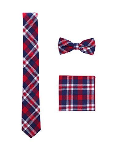WANYING Herren Baumwolle 6cm Krawatte & Pre-tied Fliege & Einstecktuch 3 in 1 Sets - Kariert Pattern Rot & Dunkelblau - Rot Karierte Einstecktuch