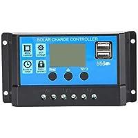 Controlador de Carga de Paneles solares, 12V / 24V Controlador de Carga de Paneles solares Regulador de batería USB LCD Controlador de Sistema de Carga Solar con Temporizador Sensor de luz