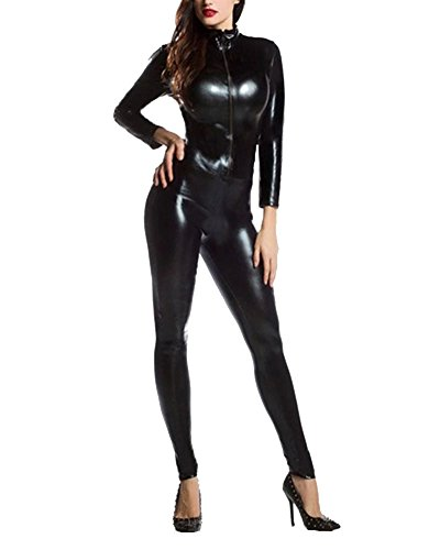 eibliche Körperanzüge Ganzkörperanzug Second Skin Kostüm Schwarz L (Weibliche Superhelden)