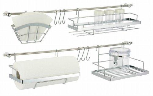 Oramics Küchen-Organizer, Metall, Silber, 70 x 20 x 12 cm, 6-Einheiten