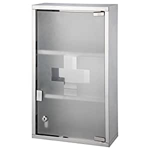 Bond hardware large stainless steel wall mounted lockable medicine cabinet first aid box with 3 for Tall stainless steel bathroom cabinet