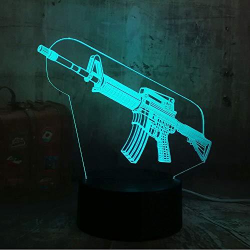 Boy Cool 3D Led Night Light Pubg Submachine Gun M416 Boy Regalo 7 Colores Cambiar Usb Batería Lámpara De Escritorio Regalos De Navidad Tzxdbh