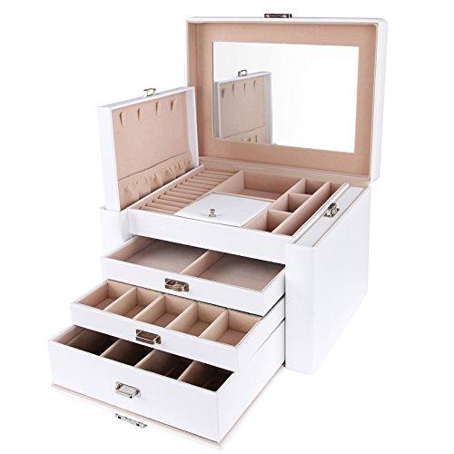 SONGMICS Schmuckkästchen Kosmetikkoffer mit 3 Schubladen Weiss 29,5 x 21,8 x 19,5 cm JBC04W