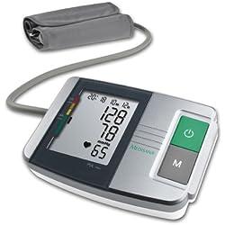 Medisana 51152, Tensiómetro de Brazo MTS para tomar la presión arterial del brazo superior, con indicador de arritmia, escala de colores semáforo OMS y fácil de leer pantalla